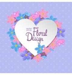 Floral frame Heart shape vector