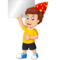 funny boy wear red birthday hat hold blank board vector image