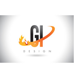 Gi g i letter logo with fire flames design and vector