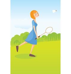 Girl playing badminton vector