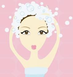 Girl shampooing vector