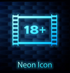 Glowing neon play video with inscription 18 plus vector