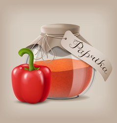 ground red pepper in a glass jar and the fruit vector image