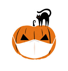 halloween 2020 coronavirus greeting card vector image