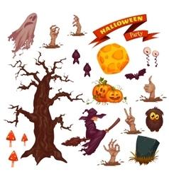 Halloween party icon set vector