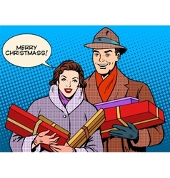 Happy couple with Christmas gifts vector