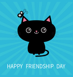 happy friendship day black cat silhouette and vector image