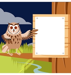 Happy owl on the tree flat background vector