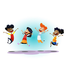 happy school multiracial children joyfully jumping vector image