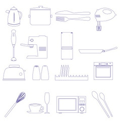 Home kitchen outline icons theme set eps10 vector