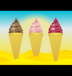 ice creams in sand vector image