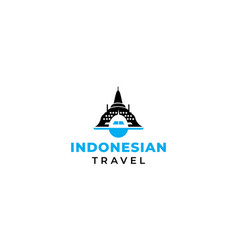 Indonesian travel and tourism plane icon logo vector