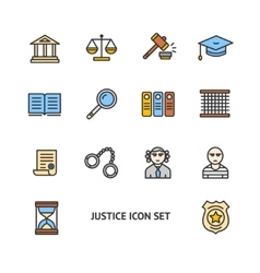 Justice Color Icon Set vector