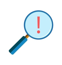 Magnifying glass with exclamation mark vector