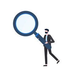 Man holding magnifier human inspection vector
