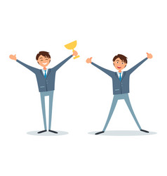Man in business successful people with prize vector