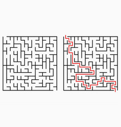 maze geometric labyrinth with entry and exit vector image