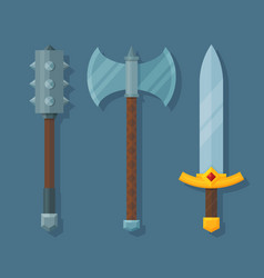 Medieval fantasy weapons flat mace axe and sword vector