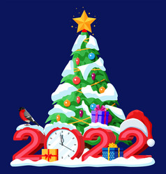 Merry christmas and new year greeting xmas card vector