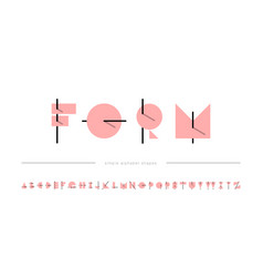 modern alphabet font overlap flat memphis style vector image