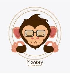 Monkey face glasses cartoon animal design vector