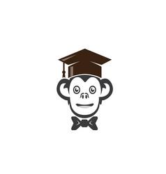 monkey graduation hat head success logo vector image