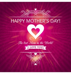 Mothers Day greeting card with background of roses vector image