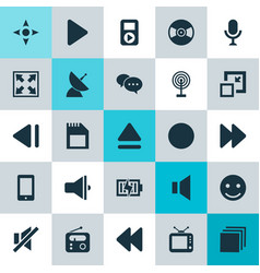 Music icons set collection of silence enlarge vector