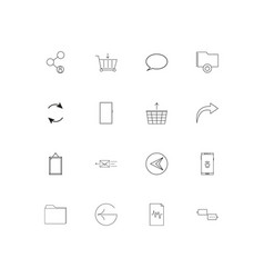 Network and database linear thin icons set vector