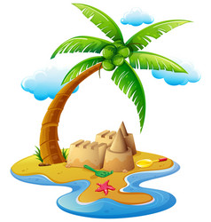 Ocean scene with sandcastle on island vector