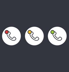 outline retro telephone handset symbol set vector image