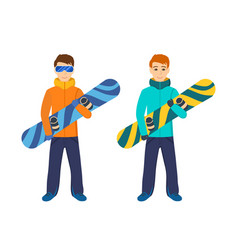 People on mountain slope holding snowboard vector
