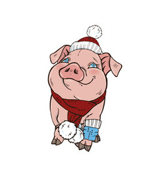 pig in winter clothes vector image
