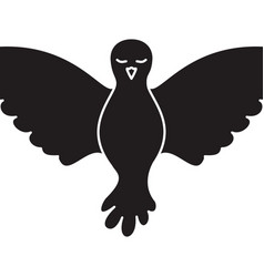pigeon peace front view on monochrome silhouette vector image