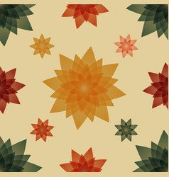 Pillows with red green and yellow flowers vector
