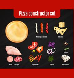 pizza constructor realistic set vector image
