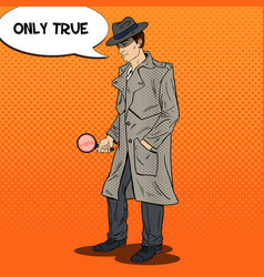 pop art investigator with magnifying glass vector image