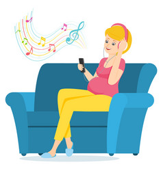 pregnant woman sits on a sofa and listens to music vector image