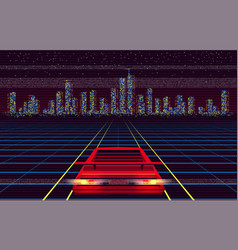 Red car racing to night city over laser grid vector