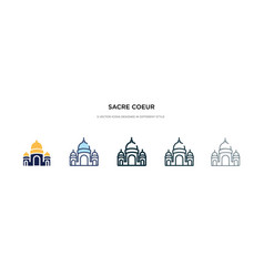 Sacre coeur icon in different style two colored vector