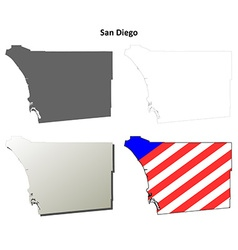 San Diego County California outline map set vector image