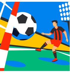Scorer forward football player with football ball vector