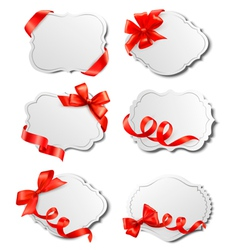 Set beautiful cards with red gift bows vector