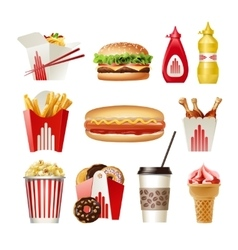 Set beautiful cartoon icons of fast food vector