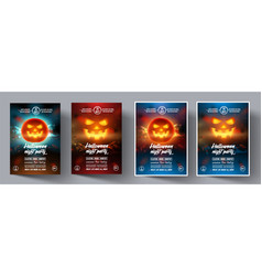 set of flyers for a night party helloween vector image