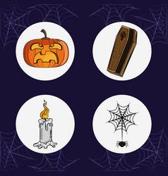 Set of halloween round icons vector