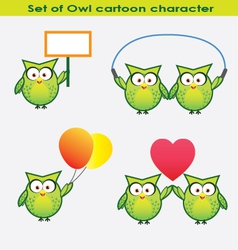 Set of owl cartoon character vector image