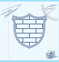 shield with cyber security brick wall line sketch vector image