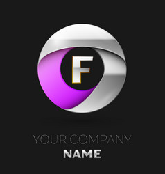 silver letter f logo in the silver-purple circle vector image