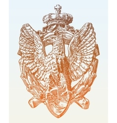 Sketch digital drawing of heraldic sculpture eagle vector